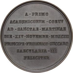 reverse: Leone XIII (1878-1903), Gioacchino Pecci.Medaglia 1893 per il terzo centenario della fondazione dell Accademia di San Luca
