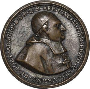 obverse: Vincenzo Maria Orsini (1649-1730), Arcivescovo di Benevento . Medaglia 1692 per la posa della prima pietra per la ricostruzione della Chiesa di San Domenico a Benevento