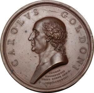 obverse: Carlo Goldoni (1707-1793), Drammaturgo e librettista. Medaglia 1808, della serie Uomini Illustri di Tommaso Mercandetti