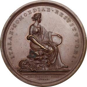 reverse: Carlo Goldoni (1707-1793), Drammaturgo e librettista. Medaglia 1808, della serie Uomini Illustri di Tommaso Mercandetti