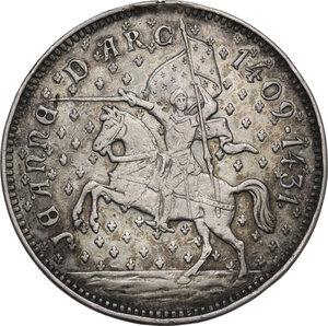 obverse: Giovanna d Arco (1412-1431). Medaglia celebrativa, XIX sec