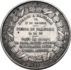 reverse: Giuseppe Garibaldi (1807-1882). Medaglia 1860 per lo Sbarco a Marsala