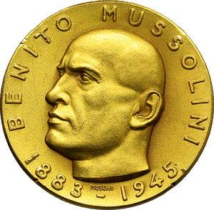 obverse: Benito Mussolini (1883-1945), Duce d Italia. Medaglia commemorativa 1957