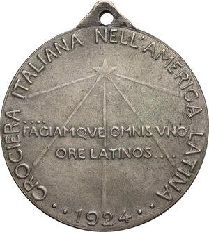 reverse: Crociera Italiana nell America Latina. Medaglia celebrativa 1924 con appicagnolo