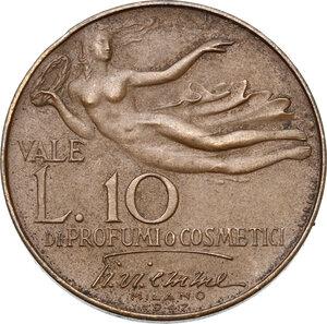 reverse: Rossana Martini, miss Italia 1946. Gettone da L. 10 per profumi e cosmetici, 1946