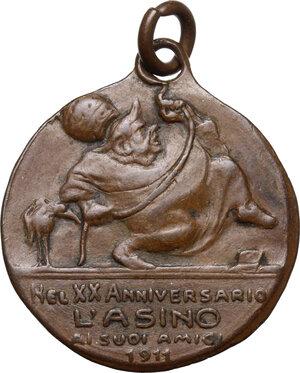 reverse: Pio X (1903-1914), Giuseppe Melchiorre Sarto. Medaglia satirica 1911, coniata dalla rivista