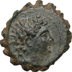 obverse: Syria, Seleucid Kings. Antiochos VI Dionysos (144-142 BC).AE serrate 22mm. Antioch mint