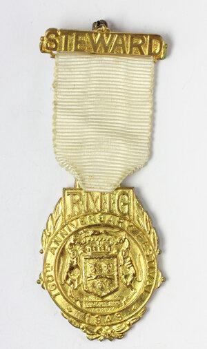 obverse: Massoneria inglese. Royal Masonic Institution for Girls. Medaglia con nastrino e fascetta STEWARD per il 160th Anniversary Festival 1948
