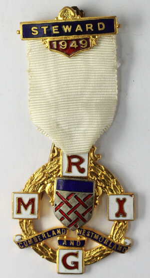 obverse: Massoneria inglese. Royal Masonic Institution for Girls (Cumberland and Westmorland).Medaglia con nastrino e fascetta STEWARD 1949