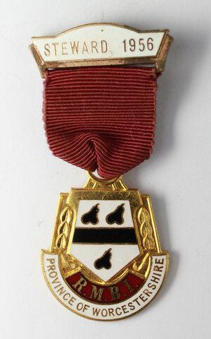 obverse: Massoneria inglese. Royal Masonic Benevolent Institution (Province of Worcestershire).Medaglia con nastrino e fascetta STEWARD 1956