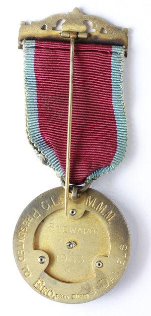 reverse: Massoneria inglese. Grand Lodge of Modern Mixed Masons.Medaglia con nastrino e fascetta assegnata a J. Daniels, STEWARD nel 1963