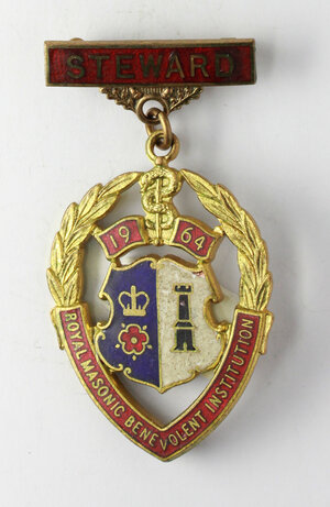 obverse: Massoneria inglese. Royal Masonic Benevolent Institution.Medaglia 1964 con fascetta STEWARD