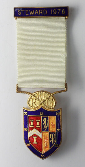 obverse: Massoneria inglese. Royal Masonic Institution for Girls. Medaglia con nastrino e fascetta STEWARD 1976