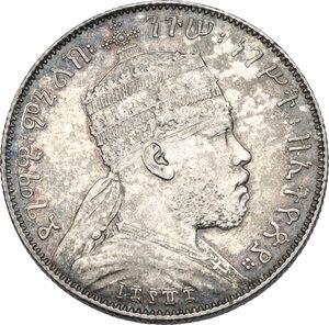 obverse: Ethiopia. Menelik II (1889-1913). 1/2 birr 1889 A, Paris mint