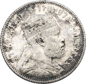 obverse: Ethiopia. Menelik II (1889-1913). 1/4 birr 1889 A, Paris mint