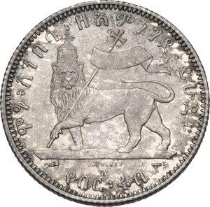 reverse: Ethiopia. Menelik II (1889-1913). 1/4 birr 1889 A, Paris mint