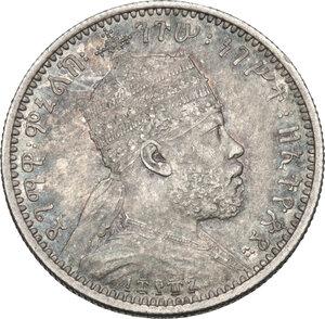 obverse: Ethiopia. Menelik II (1889-1913). 1/8 birr 1887 A, Paris mint