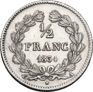 reverse: France. Louis Philippe I (1830-1848). 1/2 Franc 1834