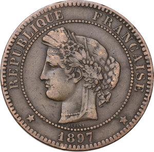 obverse: France. Third Republic (1871-1940).10 centimes 1897 A, Paris mint, torch symbol