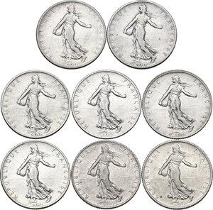obverse: France. Third Republic (1871-1940).Lot of eight (8) AR 2 Francs: 1898, 1901, 1910, 1914, 1915, 1917, 1918, 1919