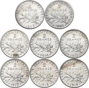 reverse: France. Third Republic (1871-1940).Lot of eight (8) AR 2 Francs: 1898, 1901, 1910, 1914, 1915, 1917, 1918, 1919