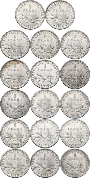 reverse: France. Third Republic (1871-1940). Lot of seventeen (17) AR 1 Franc: 1899, 1901, 1902, 1905, 1907, 1909, 1910, 1911, 1912, 1913, 1914, 1915, 1916, 1917, 1918, 1919 and 1920