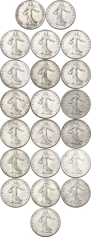 obverse: France. Third Republic (1871-1940).Lot of twenty-one (21) AR 50 Centimes: 1898, 1899, 1900, 1901, 1903 1904, 1905, 1906, 1907, 1908, 1909, 1910, 1912, 1913, 1914, 1915, 1916, 1917, 1918, 1919 and 1920