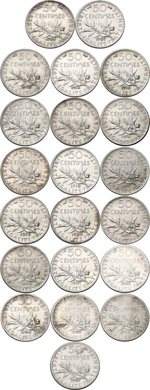 reverse: France. Third Republic (1871-1940).Lot of twenty-one (21) AR 50 Centimes: 1898, 1899, 1900, 1901, 1903 1904, 1905, 1906, 1907, 1908, 1909, 1910, 1912, 1913, 1914, 1915, 1916, 1917, 1918, 1919 and 1920