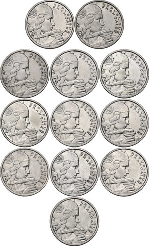 obverse: France. Fourth Republic (1947-1959). Lot of twelve (12) 100 Francs: 1954, 1954 B (2), 1955, 1955 B, 1956 (2), 1956 B, 1957, 1957 B, 1958 and 1958 B