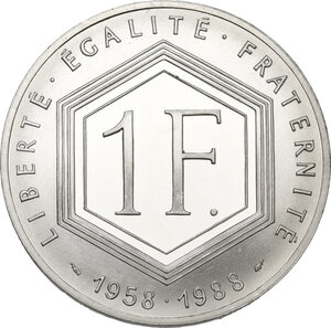 reverse: France. Fifth Republic (1958-).1 Franc 1988 Charles de Gaulle