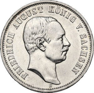 obverse: Germany, Sachsen. Friedrich August III (1904-1918). AR 3 Mark 1908 E, Muldenhutten mint