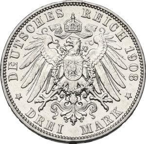 reverse: Germany, Sachsen. Friedrich August III (1904-1918). AR 3 Mark 1908 E, Muldenhutten mint