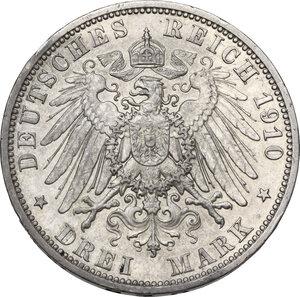 reverse: Germany, Preussen. Wilhelm II (1891-1918).AR 3 Mark 1910 A, Berlin mint