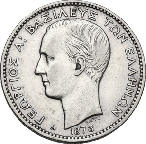 obverse: Greece. George I (1863-1913).Drachme 1873 A