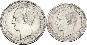 obverse: Greece. George I (1863-1913).Lot of two (2) coins: 50 Lepta 1874 A and 20 Lepta 1874 A