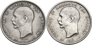 obverse: Greece. George I (1863-1913).Lot of two (2) Drachmai: 1910 and 1911
