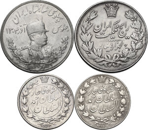 obverse: Iran. Lot of four (4) coins: 5000 Dinars 1305 (1926) and 1307 (1328) [Reza Shah] and 2000 Dinars 1328 (1910) and 1330 (1311) [Sultan Ahmad Shah]