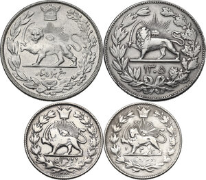 reverse: Iran. Lot of four (4) coins: 5000 Dinars 1305 (1926) and 1307 (1328) [Reza Shah] and 2000 Dinars 1328 (1910) and 1330 (1311) [Sultan Ahmad Shah]