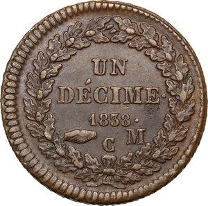 reverse: Monaco, Principality of . Honoré V (1819-1841).Un Decime 1838 C M