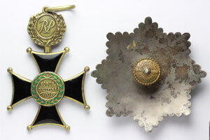 reverse: Poland. Order of Military Virtue. Grand cross breast star and gold cross