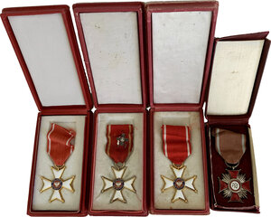 obverse: Poland. Lot of four (4) decorations with ribbons