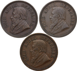 obverse: South Africa. ZAR. Lot of three (3) coins: penny 1892, 1894, 1898