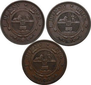 reverse: South Africa. ZAR. Lot of three (3) coins: penny 1892, 1894, 1898