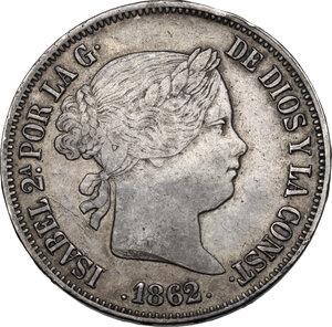 obverse: Spain. Isabel II (1833-1868). 20 Reales 1862 Barcelona