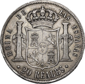 reverse: Spain. Isabel II (1833-1868). 20 Reales 1862 Barcelona
