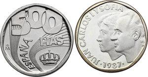 obverse: Spain. Juan Carlos I (1975-). Lot of two (2) patterns: 500 pesetas 1987 PRUEBA