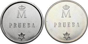 reverse: Spain. Juan Carlos I (1975-). Lot of two (2) patterns: 500 pesetas 1987 PRUEBA