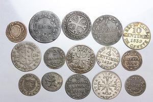 obverse: Switzerland. Lot of fifteen (15) coins to be sorted. Many cantons: Luzern, Schwyz Geneva, Vaud, Neuchatel, San Gallo, Bern,Wallis