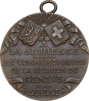 reverse: Switzerland. Commemorative medal 1914 for the 100 years from the reunification of Geneve to the Switzerland