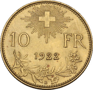 reverse: Switzerland. Confederation (1848- ). 10 Francs 1922
